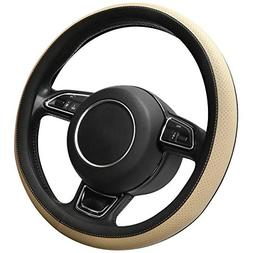SEG Direct Microfiber Leather Beige Steering Wheel Cover for