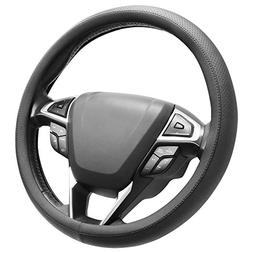 SEG Direct Microfiber Leather Black Steering Wheel Cover Uni