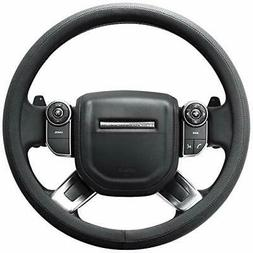 SEG Direct Microfiber Leather Black Steering Wheel Cover for