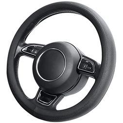 microfiber leather black steering wheel cover