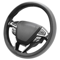 SEG Direct Microfiber Leather Grey Steering Wheel Cover Univ