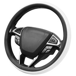 SEG Direct Microfiber Leather White Steering Wheel Cover Uni