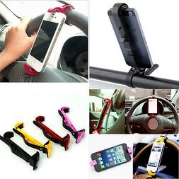 Mobile Phone Car Steering Wheel Cradle Holder Clip Fit All C