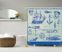Ambesonne Nautical Anchor Shower Curtain, Whale Sail Boat St
