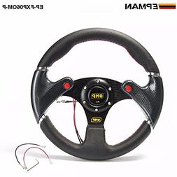 OMP- New 320MM Yellow PVC Sport Spoke Car Racing Steering Wh