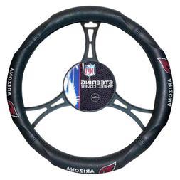 NFL Arizona Cardinals Steering Wheel Cover, Black, One Size