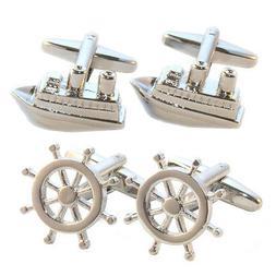 Ocean Liner Cruise Ship Steering Wheel Cufflink Set in Leath