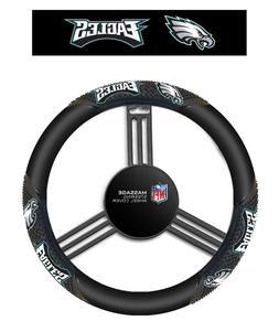 Philadelphia Eagles Black Vinyl Massage Grip Steering Wheel
