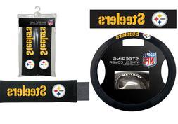 Pittsburgh Steelers Steering Wheel Cover Poly Mesh Suede Sea