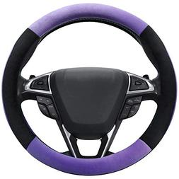 SEG Direct Purple Plush Winter Auto Car Steering Wheel Cover