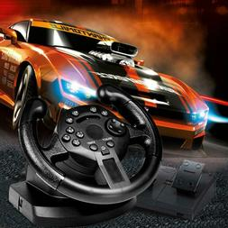 Racing Driving Game Controller Steering Wheel Brake Pedal F/