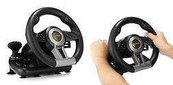 Racing Game Vibration Steering Wheel with Foldable Pedal for