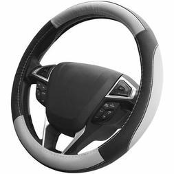 SEG Direct Black and Gray Microfiber Auto Car Steering Wheel