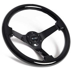NRG Innovations ST-036BK-BK Classic Black Wood Grain Wheel