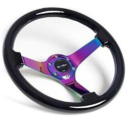 NRG Innovations ST-036BK-MC Classic Black Wood Grain Wheel