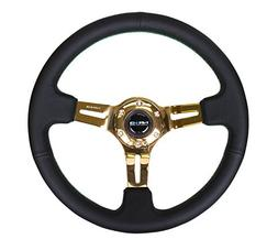 NRG Innovations ST-055R-CGGS Black Leather Steering Wheel wi