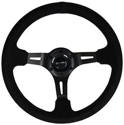 NRG Innovations ST-055S-BKRS Black Suede Steering Wheel with