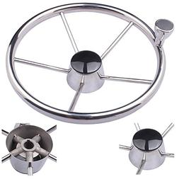HOFFEN 13-1/2 Inch Stainless Steering Wheel With Turning Kno