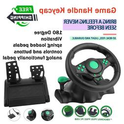 Steering Wheel Floor Pedals Gaming Vibration Racing 180 Degr
