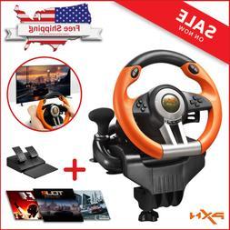 Steering Wheel Pedal Set Racing Gaming Simulator Driving PS3