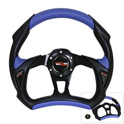 Universal 320MM 6 Bolt Hole PVC Leather Black Blue Steering