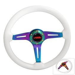 "Universal 345MM 2"" Steering Wheel Deep Dish Steel Frame Whit"