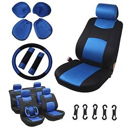 SCITOO Universal Blue/Black Car Seat Cover w/Headrest /Steer