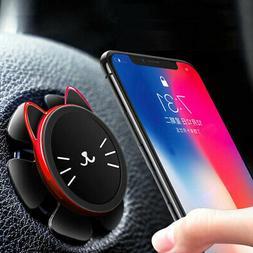Universal Magnetic Car Phone Holder Steering Wheel Rotation