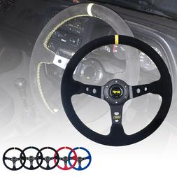 Universal OMP 14 inch 350mm Suede/PVC Auto Racing <font><b>S