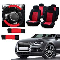 cciyu Universal Seat Cover w/Headrest/Steering Wheel Cover/S